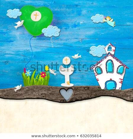 alegre · primera · comunión · tarjeta · ángel · rústico · arpillera - foto stock © marimorena