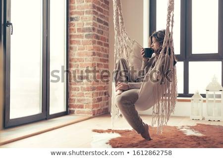 женщину мех ковер портрет красивой молодые Сток-фото © zastavkin