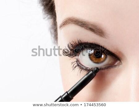 Nő jelentkezik szemöldökceruza szem fehér gyönyörű Stock fotó © photography33
