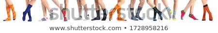 女性 · 脚 · 編まれた · 靴下 · 白 · 孤立した - ストックフォト © aremafoto