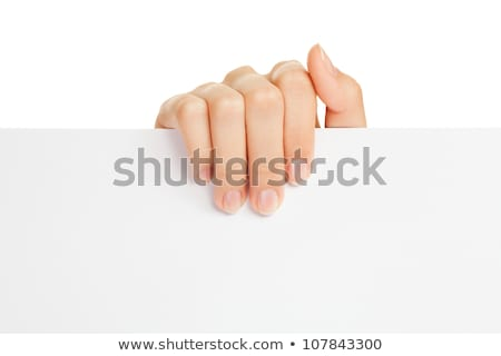 woman hand holding empty visiting card isolated on white stock photo © artjazz