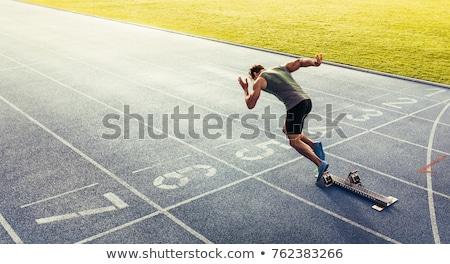 Futás tini atléta célszalag lány sportok Stock fotó © stevemc