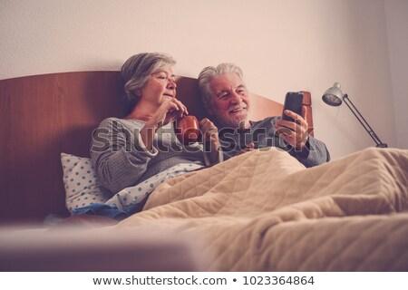 пожилого · пару · завтрак · счастливым · кухне · улыбаясь - Сток-фото © photography33