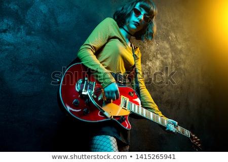 Vrouw elektrische gitaar jeans jeugd vrouwelijke elektrische Stockfoto © photography33