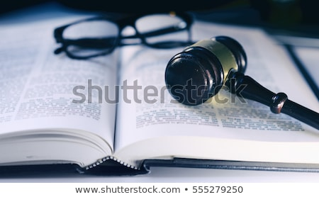 Wooden gavel and old opened law book stock photo © broker