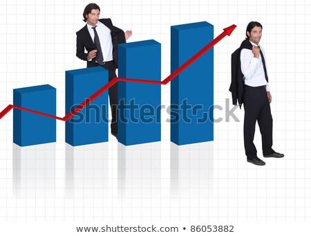 Cavalheiro terno gráfico de barras negócio trabalhar Foto stock © photography33