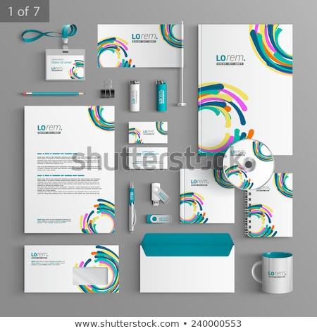 ベクトル 文房具 セット カラフル サークル パターン ストックフォト © malexandric