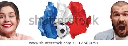 Banderą Francja uśmiechnięta twarz szczęśliwy świat czerwony Zdjęcia stock © experimental