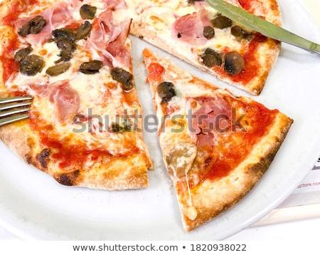 Pişmiş pizza patlıcan kabak plaka sebze Stok fotoğraf © vlad_podkhlebnik