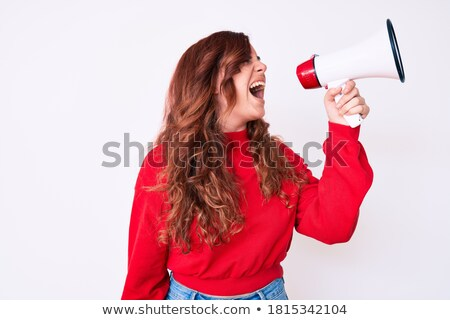 Woman facing megaphone Stock photo © photography33