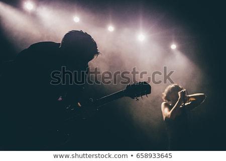 женщины певицы электрической гитаре женщину костюм исполнительного Сток-фото © photography33
