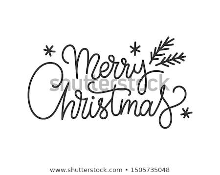 dessinés · à · la · main · style · Noël · texte · résumé · blanche - photo stock © re_bekka