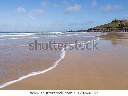 Tengerpart hullámok Cornwall égbolt felhők kő Stock fotó © latent