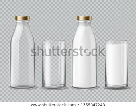 Botella vidrio leche mesa de cocina rojo blanco Foto stock © stevanovicigor