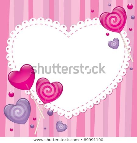 valentin · nap · kártya · vektor · lány · szív · kéz - stock fotó © carodi