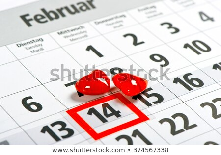 calendar with red mark on 14 February. Valentine's day concept Stock photo © inxti