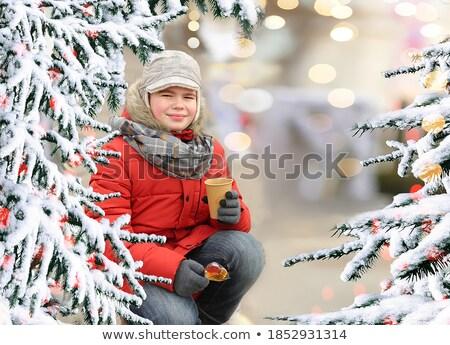 Yakışıklı genç erkek beyaz kürk şapka Stok fotoğraf © Lessa_Dar