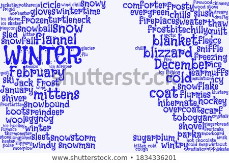 Christmas tree word clouds in blue background stock photo © seiksoon