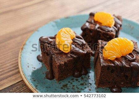 chocolate brownie and orange Stock photo © M-studio