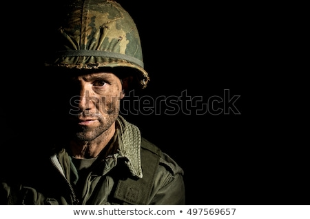 Emotionele stress oorlog militaire held soldaat huilen Stockfoto © Lightsource