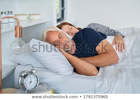 fáradt · nő · pihen · pléd · hálószoba · ágy - stock fotó © wavebreak_media