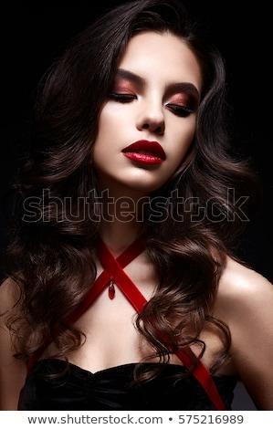 Bella donna labbra rosse pizzo maschera occhi faccia Foto d'archivio © dashapetrenko