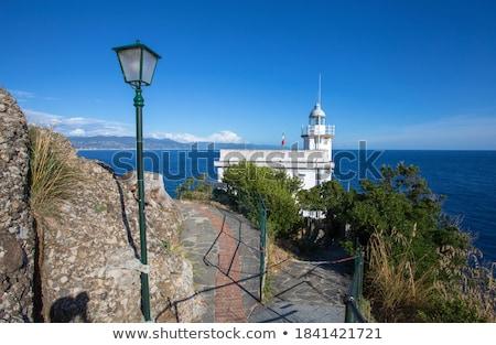 Old White Lighthouse on the Sea Coast in Genoa, Italy Stock photo © anshar