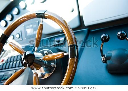 boat rudder wheel white sailboat detail Stock photo © lunamarina