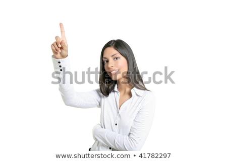 Сток-фото: брюнетка · деловая · женщина · прикасаться · виртуальный · прозрачный · ключевые