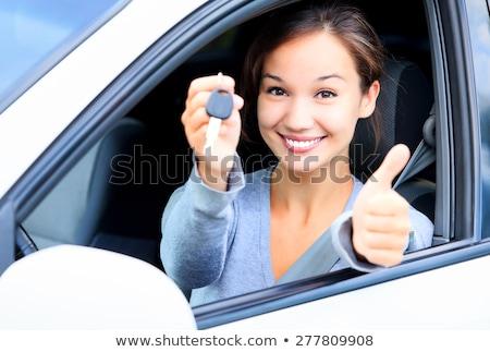 Mutlu kız araba anahtar başparmak yukarı Stok fotoğraf © Nobilior