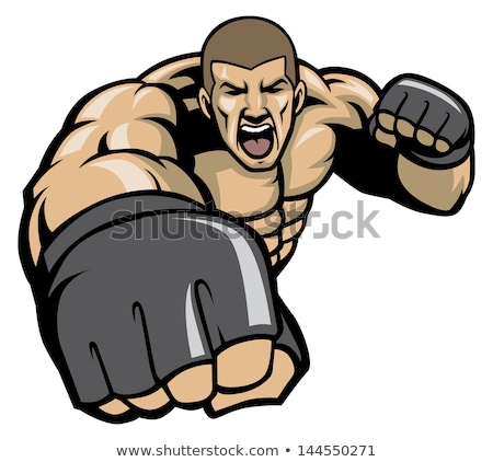 Boxing man with big punch Stock photo © ivonnewierink