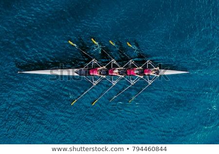 ストックフォト: 青 · ローイング · ボート · ミニチュア · 孤立した · 白