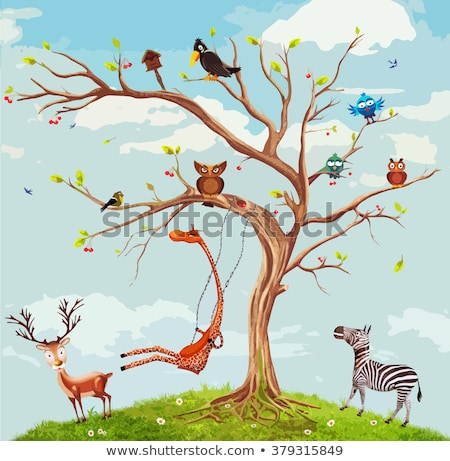 Stock photo: trees with cats and birds, vector