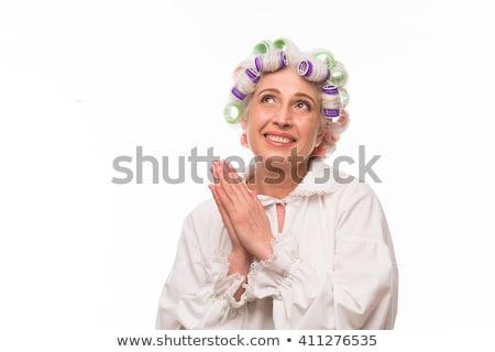 Nagyi haj nő arc kék toll Stock fotó © photography33