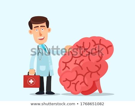 Medikus nagy piros agy megafon izolált Stock fotó © Kirill_M