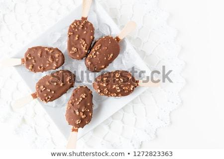 Csokoládé diók fehér textúra kávé cukorka Stock fotó © oly5