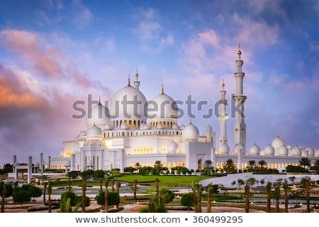 мечети · закат · Абу-Даби · красивой · белый · золото - Сток-фото © egypix
