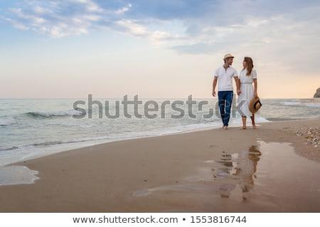siluet · insanlar · tropikal · plaj · gün · batımı - stok fotoğraf © komar