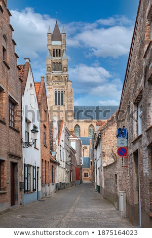 Traditional buildings and cobbled street Bruges, Belgium Stock photo © jenbray