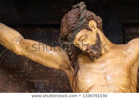 Ahşap rustik heykel İsa arka plan ağrı Stok fotoğraf © pixachi