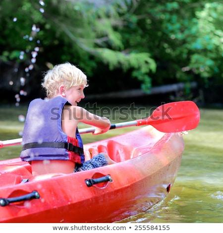 Tienerjongens kajakken strand zee leuk jonge Stockfoto © monkey_business