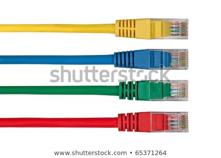 Geel ethernet kabels Maakt een reservekopie computer mes Stockfoto © silkenphotography