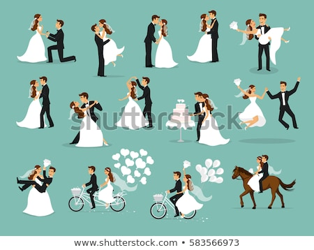 Kissing Couple. Bride and Groom. vector illustration Stock photo © leonido