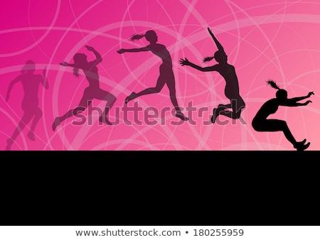 Vrouw hoog springen track veld sport Stockfoto © leonido
