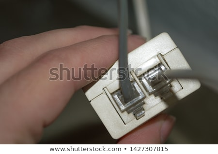 switch · bleu · technologie · pouvoir · blanche · fil - photo stock © dezign56