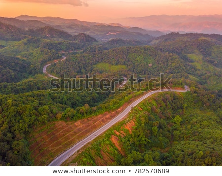 high angle view forest mountain and sky stock photo © yongkiet