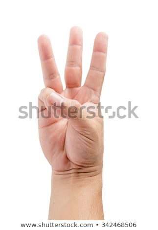 three fingers being held in the air by a male hand stock photo © bloodua