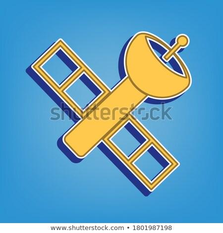Antena satelitarna podpisania złoty wektora ikona przycisk Zdjęcia stock © rizwanali3d