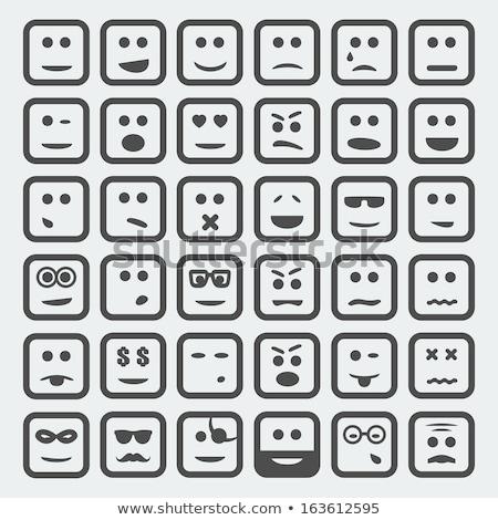 Vierkante emoticon dief illustratie witte Stockfoto © carbouval
