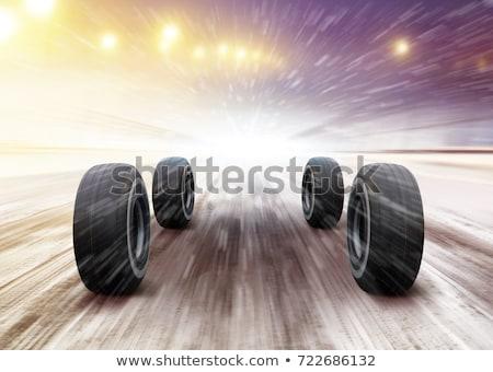 verwaarloosd · asfalt · wielen · verkeer · vervoer - stockfoto © ssuaphoto